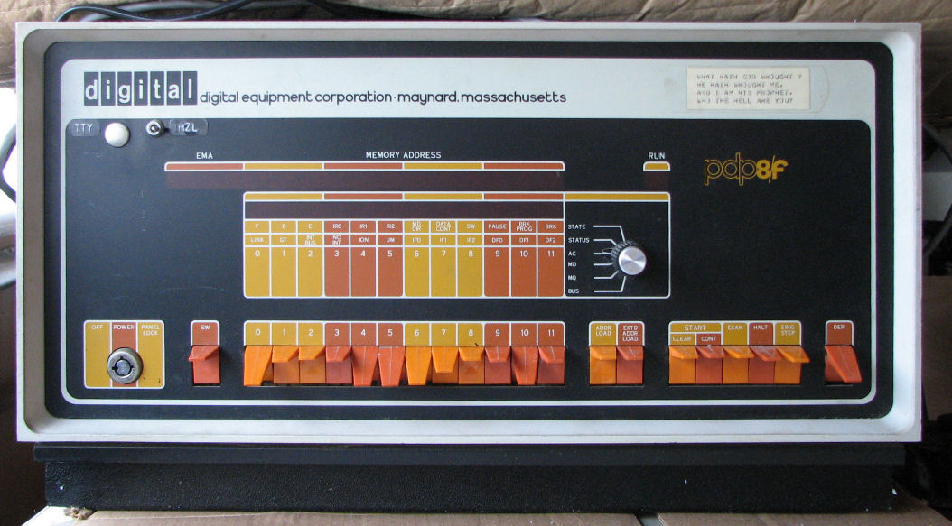 [PDP-8 front panel]